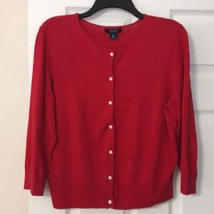 Chaps 3/4 sleeve red cardigan sweater